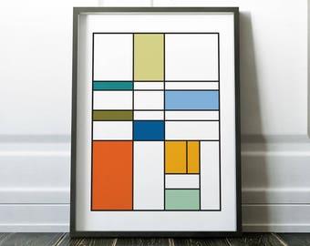 Mid Century Modern, Wall Art Print, Mondrian Style Print, Minimalist Print, Modern Art, Minimalist Art, Mid Century Print, Wall Art, Prints