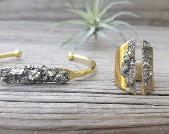 Bracelet Gift for Women Woman's Bracelet Gift for Her Christmas Gift Adjustable Ring Pyrite Bracelet Statement Jewelry Dynamo Gold Bracelet