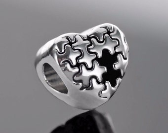 Autism Awareness Silver Puzzle Bead Charm Fits European Charm Bracelets - Silver Heart Jigsaw Puzzle Piece AAB2