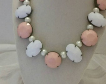 Pink and White Necklace Wedding Necklace Pearl Necklace Adjustable Necklace One Of A Kind Necklace White and Pink Necklace Bridesmaid Gift