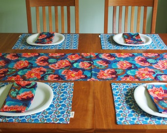 Oriental Table Runner with Lotus Flowers and Lily Pads in Blue, Purple and Red, Asian Style Table Linens, Wedding Gifts, Reversible, 14 x 84