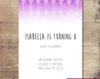 Printable Watercolour Arrow Birthday Invitation / Customisable Digital File / JPG or PDF / Pink