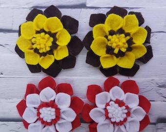 Felt flower hair clip barrette in brownie uniform and rainbow uniform colours