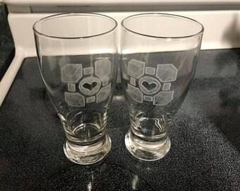 Portal Companion Cube Beer Glasses