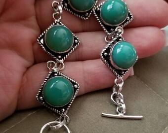 Green Chalcedony Bracelet - 8.5 inches!