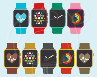 216 Colourful Smart Watches Digital Clipart - PNG Format - Personal and Commercial Use