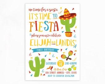 Fiesta Birthday Invitation, Cactus Invitation, No Time to Siesta, 1st Fiesta, First Birthday, 1st Birthday Party, Printable Invite, Uno
