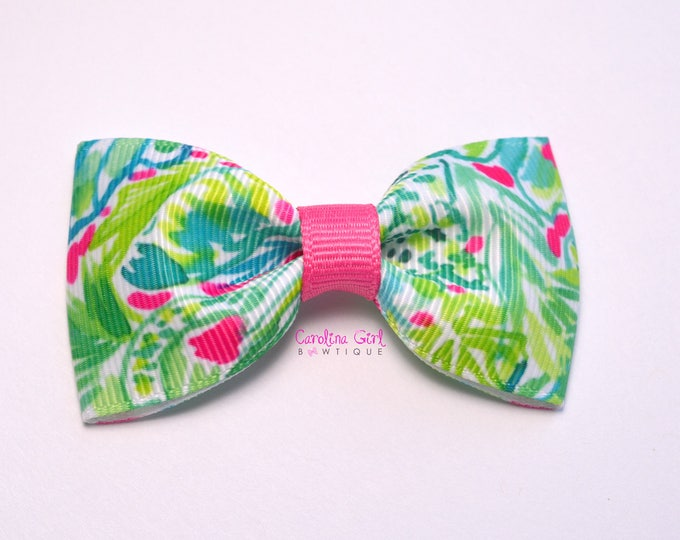 "Green Jungle ~ 3"" Hair Bow Tuxedo Bow ~ Lilly Inspired ~ Simple Bow ~ Boutique Bow for Babies Toddlers ~ Girls Hair Bows"