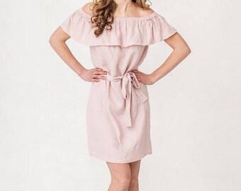 Pink Linen Dress Off Shoulder Ruffle