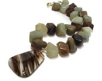 Chunky Jade Necklace, Big Bold Chunky Necklace, Cherry Quartz Pendant, Gemstone Statement Necklace, Green And Brown, EarthTones