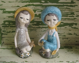 Vintage Boy and Girl in the Garden Figurines  Japan
