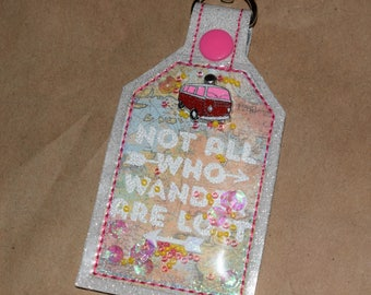 Not All Who Wander Are Lost One of a Kind Mixed Media Tag Keychain