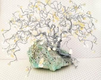 Bonsai Gem Tree, Aragonite Gems, Chrysocolla Rock Base, Gemstone Tree, Wire Tree of Life, Crystal Trees, Spiritual Gifts, Home Decor