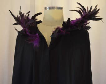 Costume, Cape with hood, Pagan Druid, Handmade, Feather, Carnival,  Purple,  theatre, vampire, woman