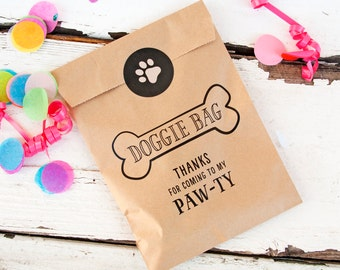 Doggie Bag - Kraft Paper Favor Bags - Kids and Puppies Birthday - Candy Bag - 12 Kraft Bags