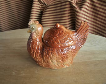 Vintage Papco Chicken Hen Cookie Jar / Canister – Farm Kitchen Décor – Circa 30's