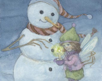 This Little Light Fairy and Snowman 5x7 Print