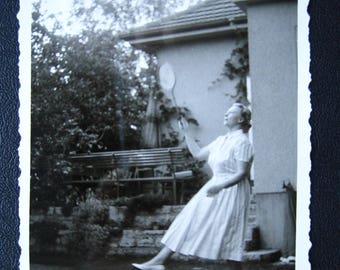 Backyard Tennis #1... 1940's Vintage Photo... Original Vintage Snapshot Photograph