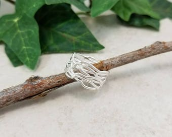 Wide Band Sterling Ring /Filigree / Statement Ring