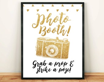Wedding Photo Booth Sign 8x10 Gold Glitter Photo Booth Birthday Party Bridal Shower Gold Sign Printable Image Digital INSTANT DOWNLOAD 300dp