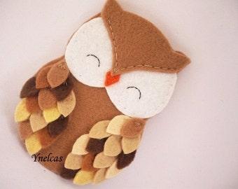 Personalized felt owl ornament - handmade felt owl ornament - felt Christmas ornament - Christmas ornament - Shades of brown owl 2018