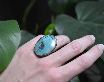 Statement Magnesite Turquoise & Copper Ring Size 6