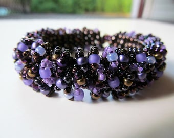 Purple and Brown Caterpillar Beadwoven Bracelet READY TO SHIP