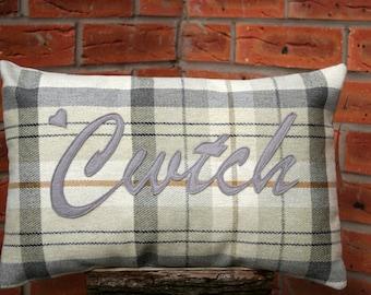 Cwtch Cushion/ Handmade Welsh appliquéd cwtch/cuddle cushion/pillow