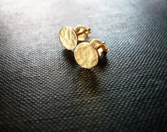 Gold Dot Earrings, Gold Coin Earrings - Dainty 14K Gold Filled Post Earrings, Tiny Hammered Gold Dot Circle Earrings, Tiny Gold Studs