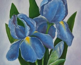 Blue Iris - Oil on Canvas 30cm x 30cm