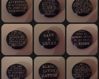 Martin Luther King Jr 25mm quote Pin Button Badge Quotation pins inspirational rebel profound Malcolm X Black Lives Matter Freedom justice