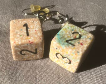 Tan speckled D6 earrings