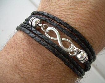 Men Leather Bracelet Infinity Bracelet Triple Wrap Black Braid Men's Bracelet Women's Bracelet Men's Jewelry Women's Jewelry