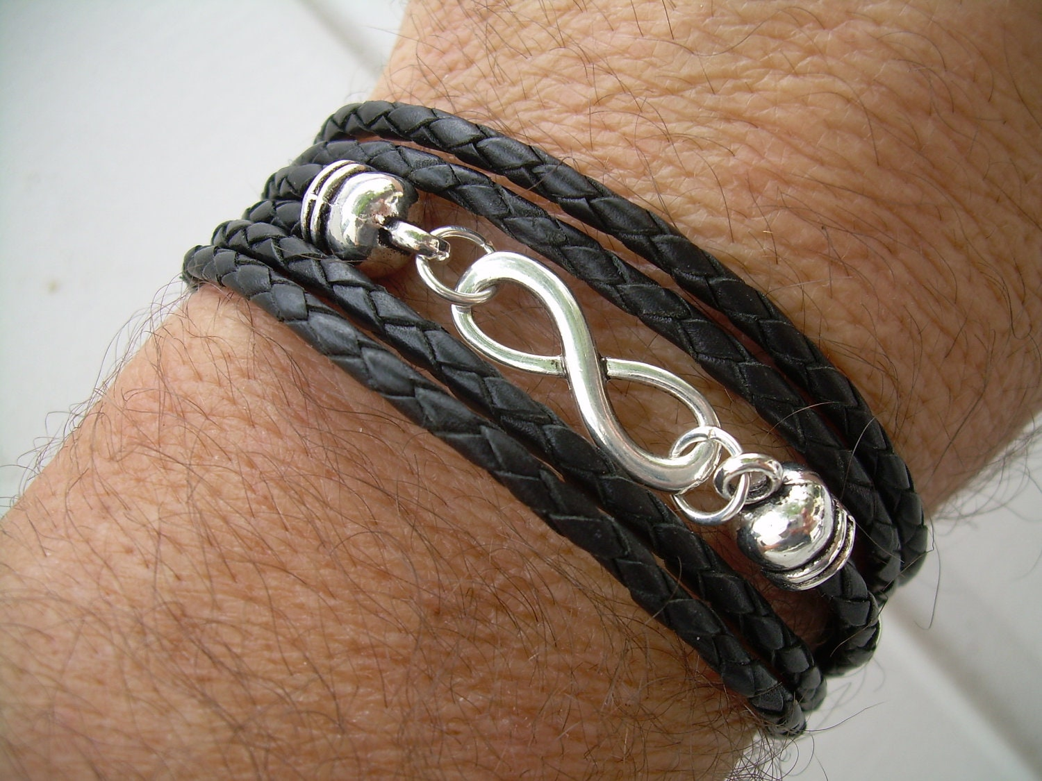 Black braided leather bracelet infinity bracelet triple zoom biocorpaavc