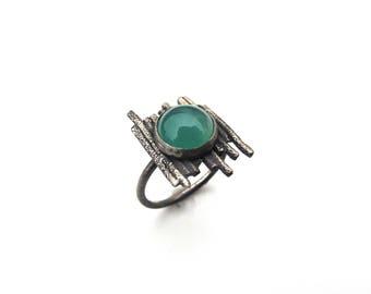 Sterling Silver and Green Agate Ring - Size 7 OOAK