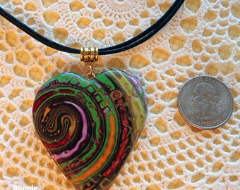 Swirled Heart Pendant and Necklace
