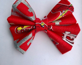 St Louis Cardinals red sparkle baseball bow