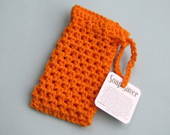 Pumpkin colored soap saver orange soap sack bright crocheted cotton yarn
