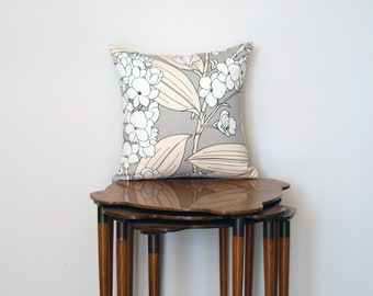 Floral Print Pillow Cover, in Grey, Cream + White