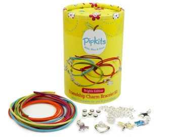 Pipkits Friendship Charm Bracelet Jewellery Making Kit Brights Edition, Each design makes 6 Bracelets for you to make, wear or share