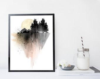 Mountain art print, print, watercolor nature poster, black and white, minimal home wall decor, apartment wall art, mountain art print, gift