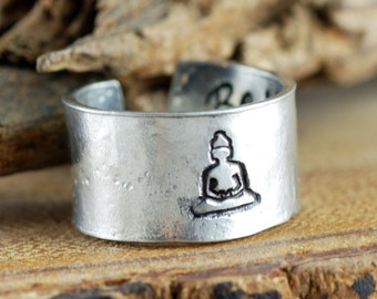Buddha Ring, Secret Message Ring, Yoga Ring, Hand Stamped Ring, Boho Ring, Custom Cuff Ring, Bohemian Ring, Personalized Ring