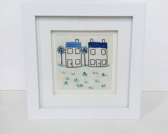 Blue Houses Picture Frame | Hand Embroidered | Picture Frame | Home decor | Box Frame | House Warming | New Home | Gift |