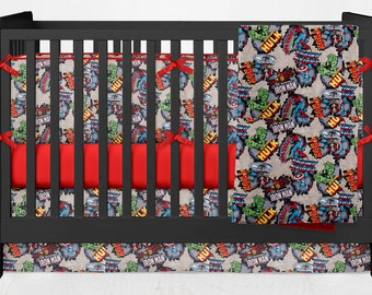 Crib Bedding Marvel Comics Spiderman Hulk Thor Iron Man Lolas Lovies handmade baby bedding