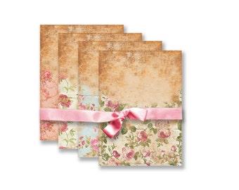 TAGS  71 Pink Vintage Floral Background Digital Collage sheet Tags Cards Floral Paper Instant Download