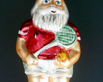 """Christopher Radko  RETIRED """"On the Court""""  Glass 1995 Ornament  No. 95-045-0 / Tennis Playing Santa / Made in Poland / Collectible"""