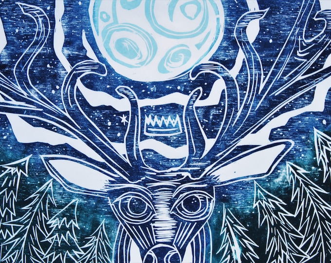 Forest King Holds The Moon Print