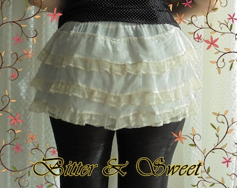 Mini bloomers with frills and lace in muslin S-M-L -Steampunk -Gothic-Lolita-Cabaret -Victorian -Burlesque -Ruffles -(Bitter & Sweet)