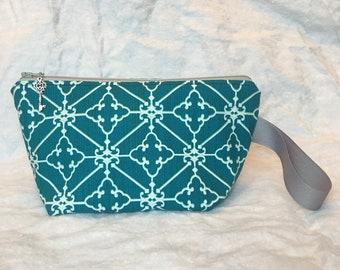 Small teal geometric cotton zip top handmade bag
