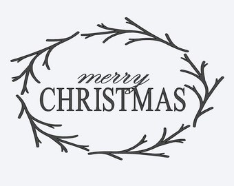 Merry Christmas  adhesive vinyl stencil for DIY projects, single-use